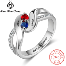 купить 925 Sterling Silver Personalized Name Ring Engraved Custom Birthstone Ring CZ  Engagement Jewelry Gift for Women(Lam Hub Fong) по цене 1318.64 рублей