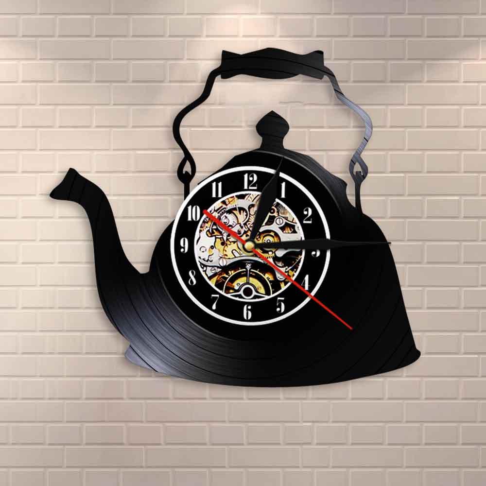 Modern Kitchen Artwork Teapot Wall Clock Tea Room Wall Decor Teapot Retro Vinyl Record Wall Clock Kitchen Decorative Wall Watch