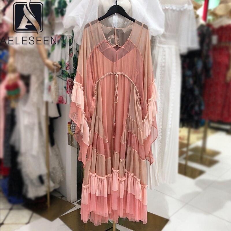 Женское платье с v образным вырезом AELESEEN, модельное свободное богемное платье с кисточками и оборками, вечерние праздничные асимметричные платья, 2020 Платья      АлиЭкспресс