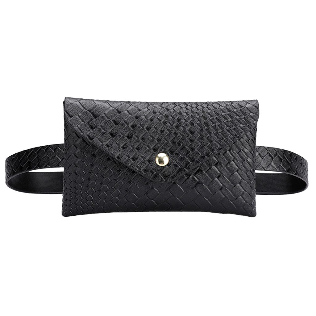 Women Waist Bag Outdoor Weaving Hasp Solid Color Messenger Bag Chest Bags Plaid Envelope Lady Small Pockets Fashion &&7