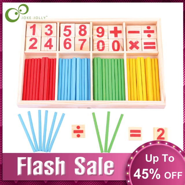 $ US $4.41 Montessori Toys Math Educational Wooden Toys for Children Early Learning Puzzle Kids Number Counting Sticks Teaching Aids GYH