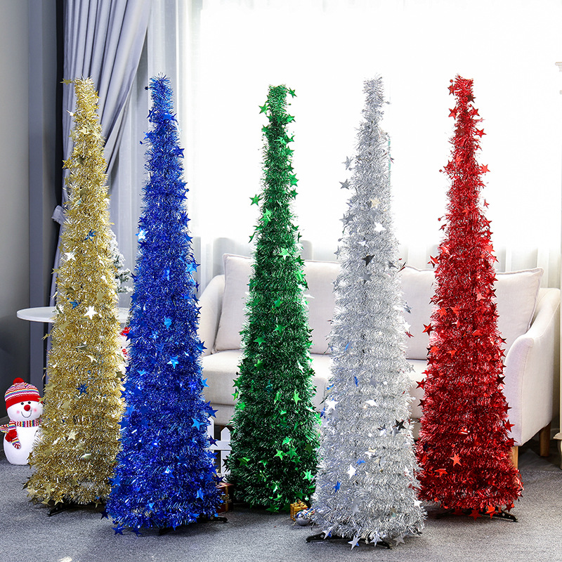 Künstliche Lametta Pop up Weihnachten Baum mit Stand Wunderschöne Faltbare Künstliche Weihnachten Baum für Weihnachten Dekorationen