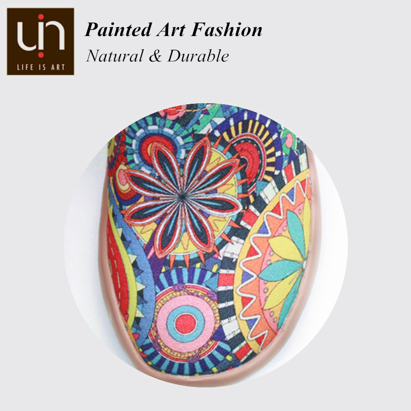 UIN Blossom Design Colorful Art Painted Canvas Loafers for Women Wide Feet Comfort Shoes Ladies Outdoor Soft Sneaker Lightweight 1