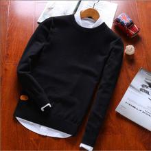 JTFAN2019 autumn  New streetwear fashion Stitching Men's Sweaters Male Knitwear warm Korean Slim Round Collar men
