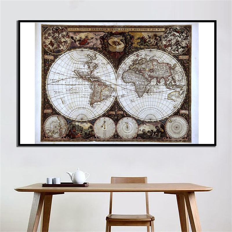 90*60cm Vintage World Map Office Supplies Detailed Antique Poster Non-woven Spray Wall Chart Retro Paper Kraft Paper World Map