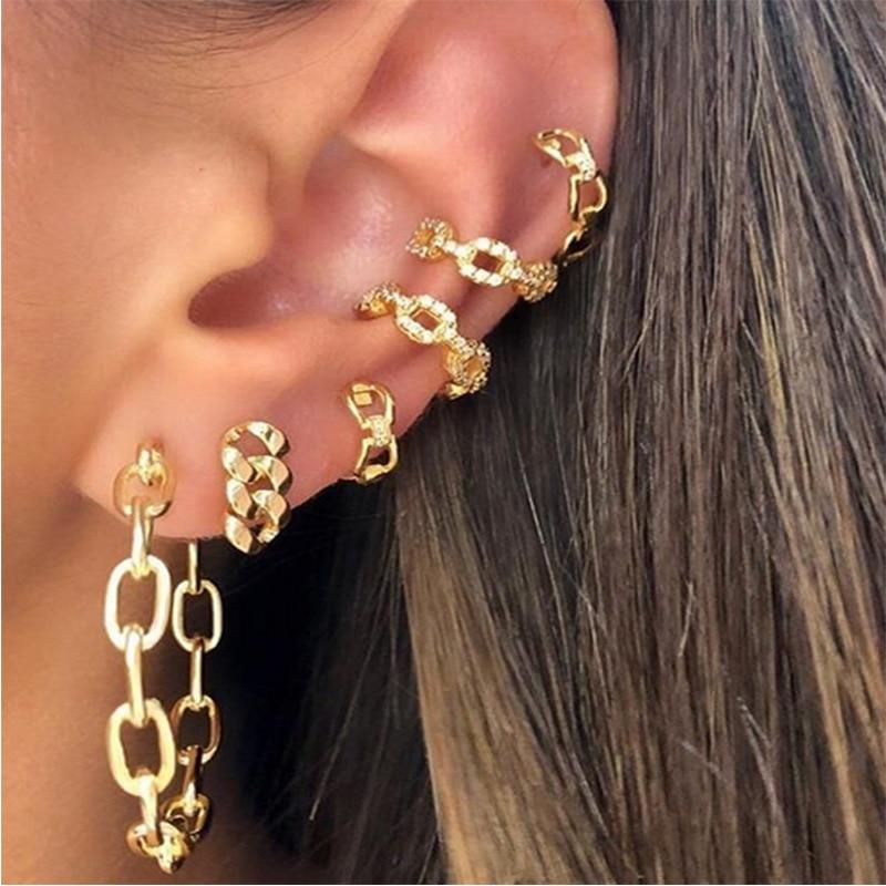 Vienkim New Fashion Gold Color Geometric Pendant Earrings Set European And American Small Bohemian Alloy Earrings For Women Gift