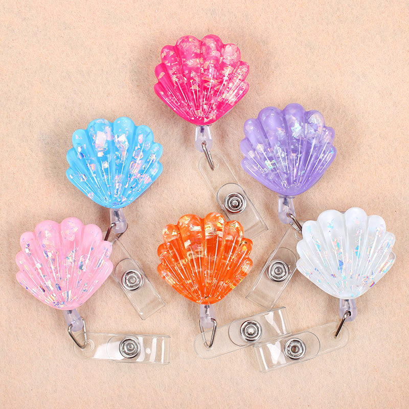 Lucency Shiny Shell Retractable Creative Plastic Badge Holder Reel Student  Nurse Exhibition Enfermera Girl Name Card Chest Card