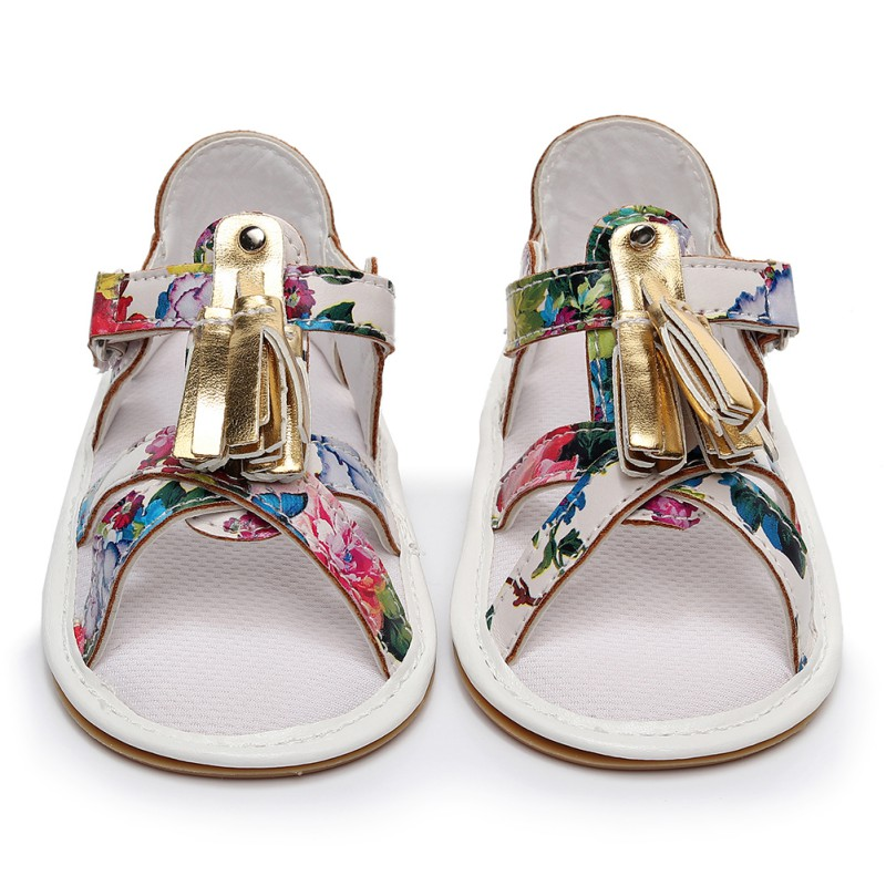 Sandals For Girls Baby Shoes PU Print Tassel Baby Girls Sandals Fashion 2018 New Beach Sandals Sandals Printed Shoes