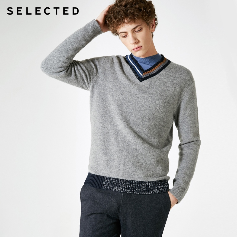 SELECTED Male Winter V-neck Sweater With Wool Color Stripe S | 418425547