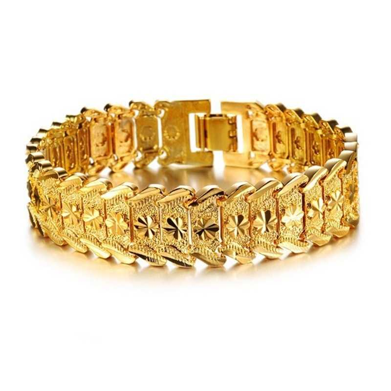 Men 10MM Golden Curb Chain Link Bracelet Hip hop Jewelry Gold Thick Heavy Copper Material Women Chain Bracelet