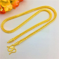 Luxury Thailand Sand Gold 14K Necklace Thick Snake Bone Yellow Gold Chain Necklace for Men Wedding Engagement Jewelry Gifts