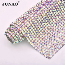 JUNAO 24*40cm SS20 Crystal AB Hotfix Glass Rhinestone Mesh Trim Iron On Fabric Applique Strass Ribbon Banding For Crafts