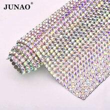 JUNAO ribete de malla de diamantes de imitación SS20 de Cristal AB de 24x40cm, Hierro sobre tela de cristal, apliques, bandas de cinta de Strass para manualidades
