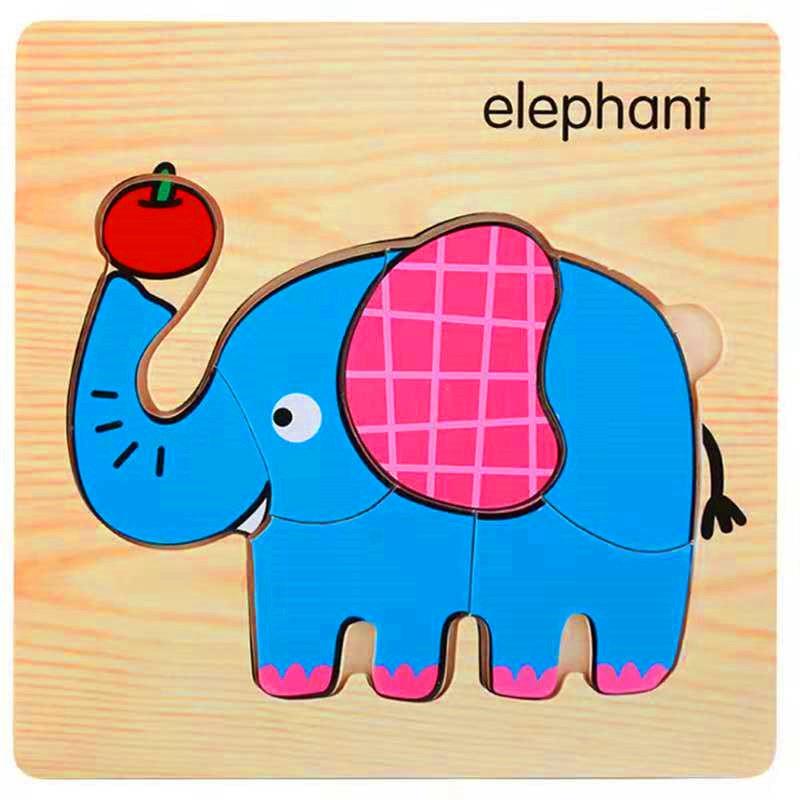3D деревянные головоломки, игрушки для детей, Деревянные 3d Мультяшные головоломки с животными, интеллектуальные детские развивающие игрушки для детей - Цвет: Армейский зеленый