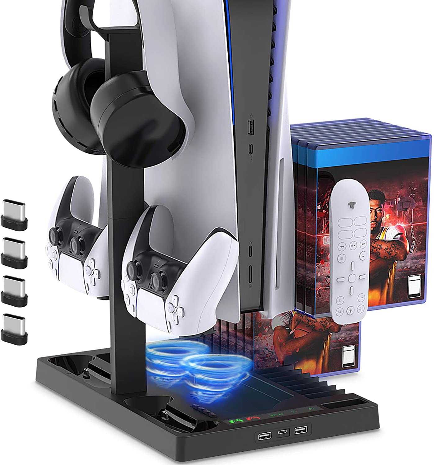 Charging Stand with Cooling Fan for PS5/PS5 Digital Edition Console and Controller Vertical Charger Station Dock