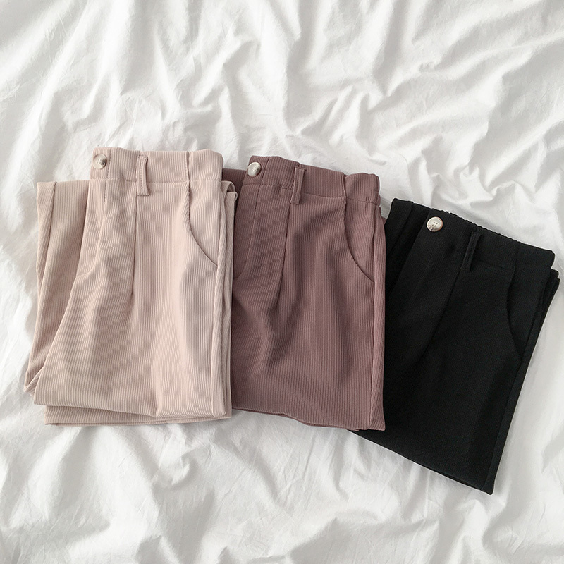 Formal Office Lady Wear Pant Women Casual Solid High Waist Wide Leg Pants Straight Trouser Femlae Khaki Black Long Pant Bottoms