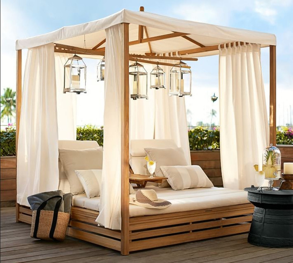 - Pool Outdoor Garden Teak Daybed Double Chaise With Canopy