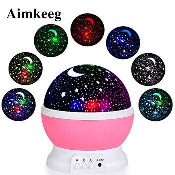 Aimkeeg Colorful Starry Sky LED Night Light Battery USB Projector Moon Lamp Star Night Light Gift for Children's Bedroom mew starry sky babysbreath autorotation led night light