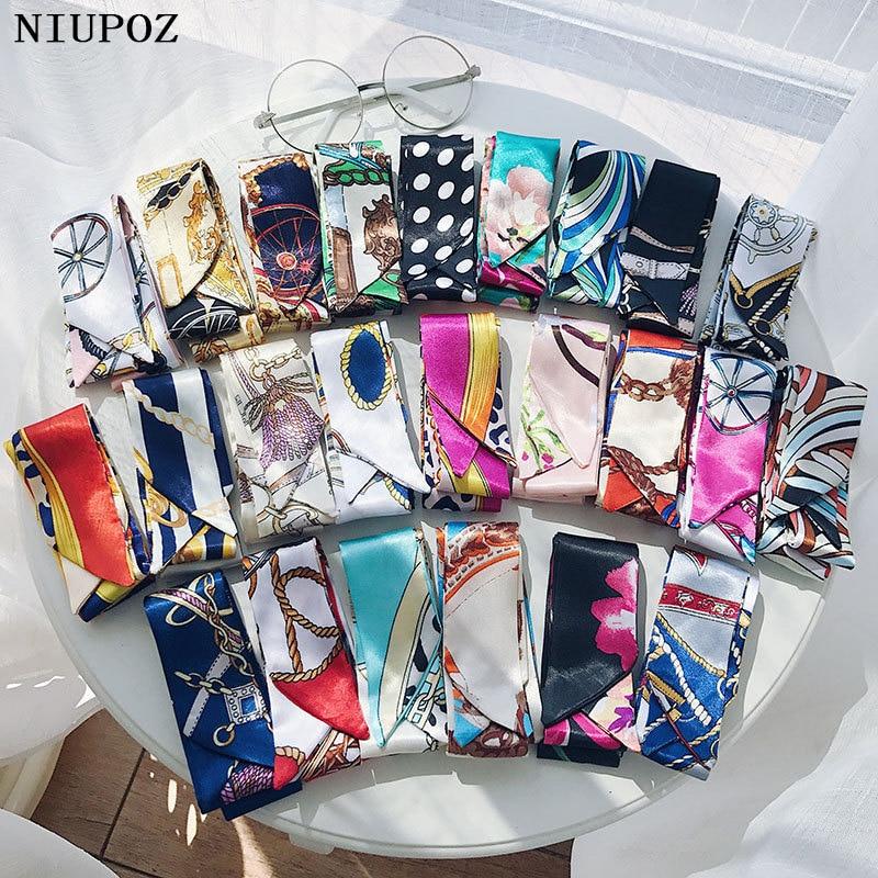 100 Colors Emulation Silk Leopard Small Bag Handle Headband Scarf Women Fashion Luxury Brand Hair Tie Ribbon Scarf