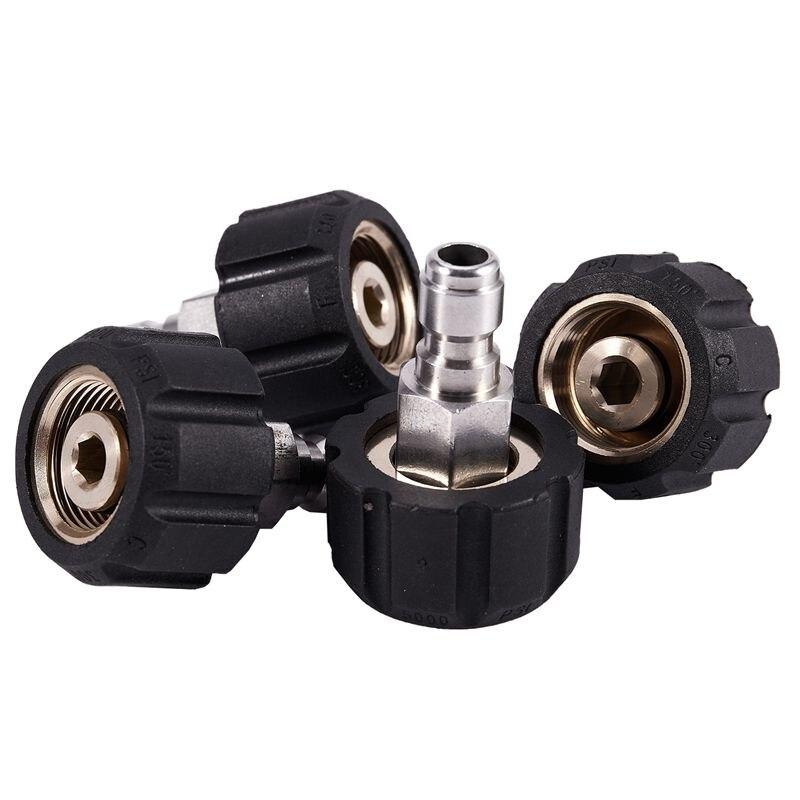 4 Pressure Washers M22 / 14 F X 1/4 Inch M Coupling Spray Gun Adapter Coupling-Washing Water Gun M22 14 Turns 1/4 Quick Con