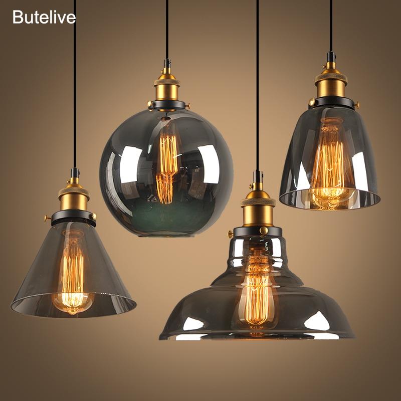 Lampes pendentif en verre, Lustre en verre lampe à suspendre industrielle Loft lampe à suspendre couleur gris fumé De Techo Colgante pendentif moderne