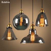 Suspension Vintage en verre lampes suspendues Loft industriel lampe suspendue Smoky gris lampara De Techo Colgante Lustre Pendent moderne