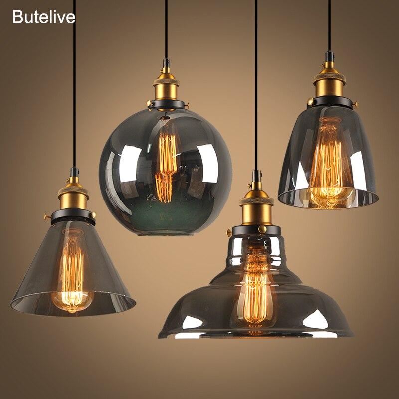 Vintage Kolye Işıkları Cam Kolye Lambaları Loft Endüstriyel Asın Lamba Dumanlı Gri Lamparas De Techo Colgante Modern Parlaklık Kolye