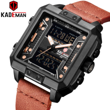 6153 Luxury Men Square Watch KADEMAN Brand Outdoor Sport Military Watch Dual Movement Digital Wristwatches Male Leather Clock bistec 11927 dual movt male outdoor watch