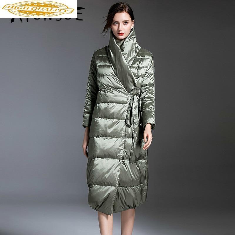 2020 New Puffer Jacket Women 90% White Duck Down Winter Coat Women Jacket Elegant Warm Parka Long Veste Femme 199005 YY1551