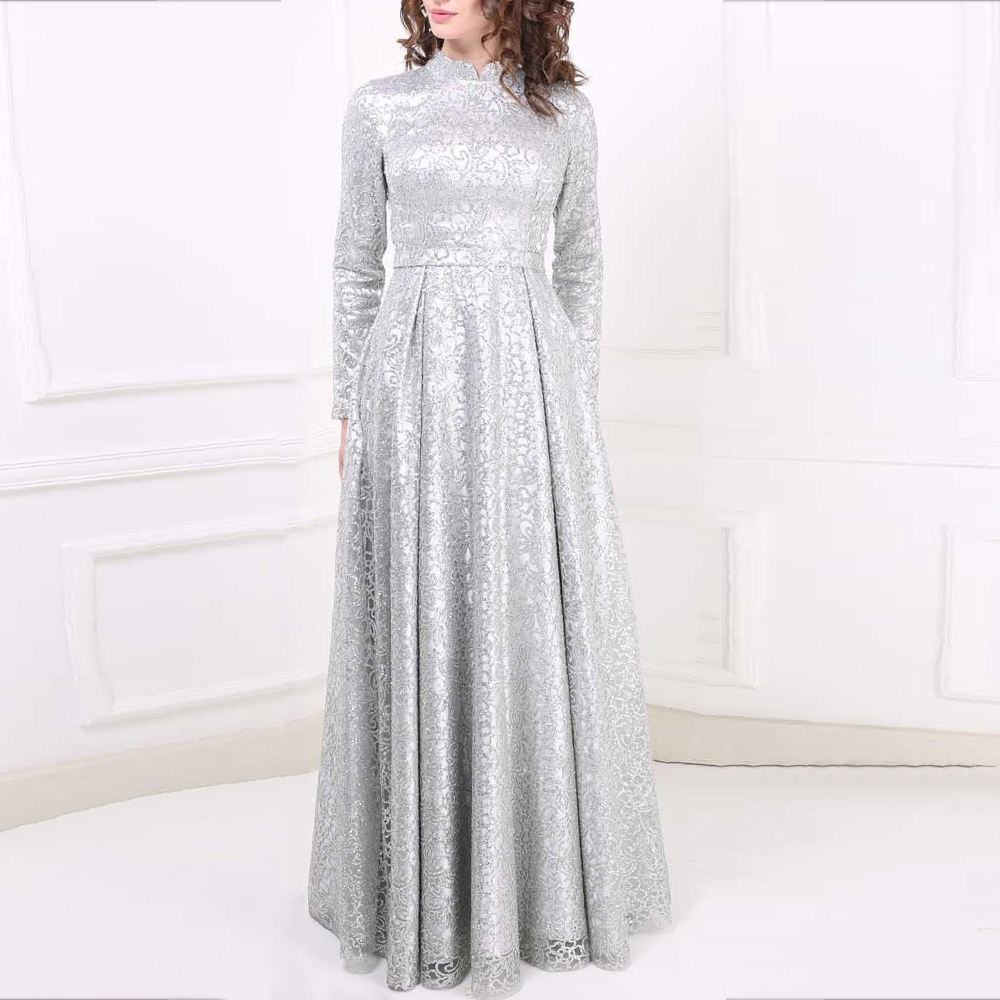 Anshirlisa Women Silver Long Sleeve Muslim Luxury Formal   Evening     Dress   Long Modest Elegant Vintage Party Gown High Neck Prom