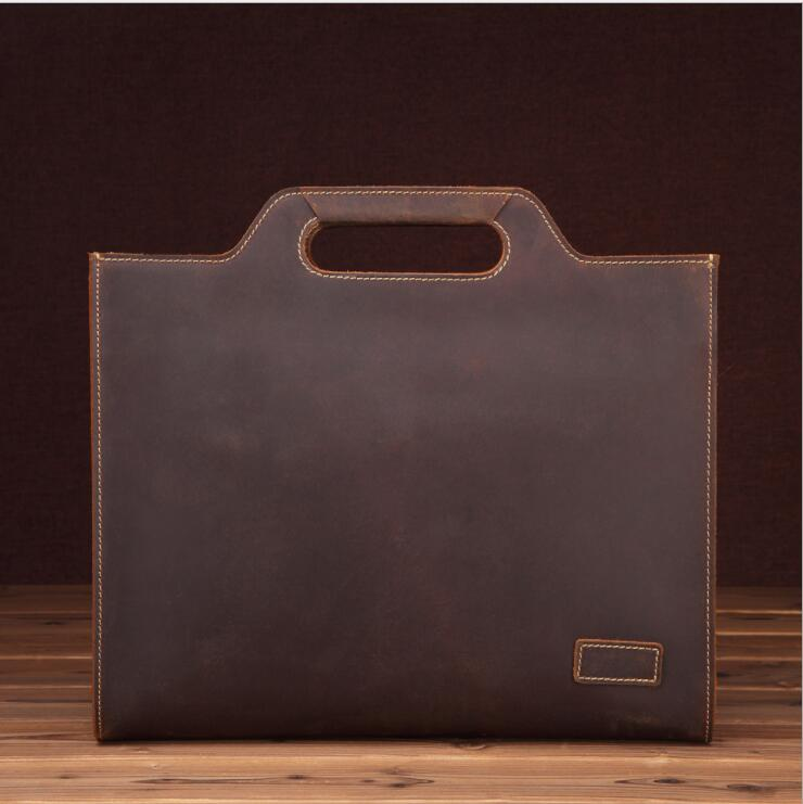 MAHEU Genuine Leather Men's Handbags Retro Crazy Horse Leather Men Tote Bag Shoulder Messenger Business Men Briefcase Tablet Bag