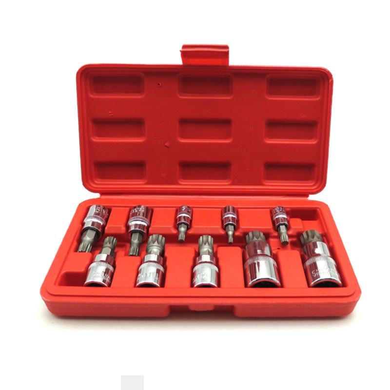 10 Pcs Allen Ead Sleeve Wrench Set Triple Square Spline Bit Socket Set For Tamper-Proof Lug Nuts 1/4, 3/8,1/2-Inch 4Mm-18Mm