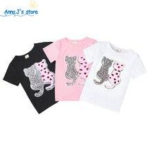 Летние футболки для девочек хлопковые футболки двусторонние пайетки, дизайнерские топы для детей от 2 до 7 лет, рубашки с круглым вырезом Одежда для маленьких девочек ZX399