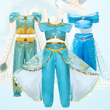 Aladdin Jasmine Dress Kids Girls Arabian Princess Costume Child Carnival Birthday Party Cosplay Outfit Wig