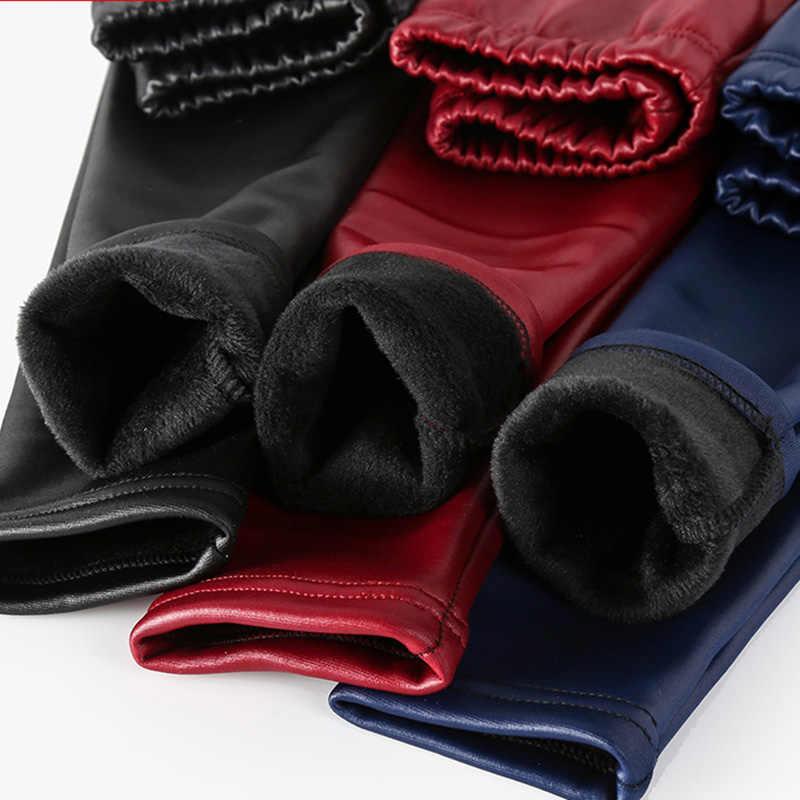 Kış kız tozluk sıcak Leggins pantolon deri Pantalones Leguin çocuklar Infantil kız Getry Hiver PU Fille sahte pantolon çocuk