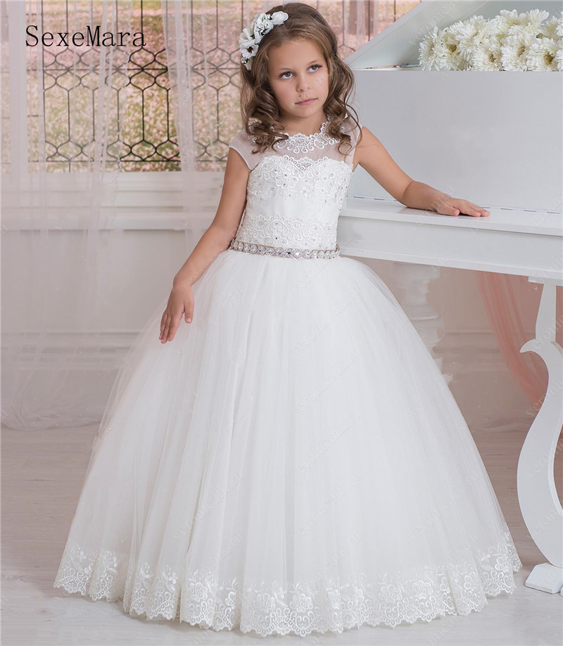 SexeMara Romantic Puffy Lace Flower Girl Dress For Weddings Ball Gown Flower Girl Party Communion Dress Pageant Gown With Ribbon