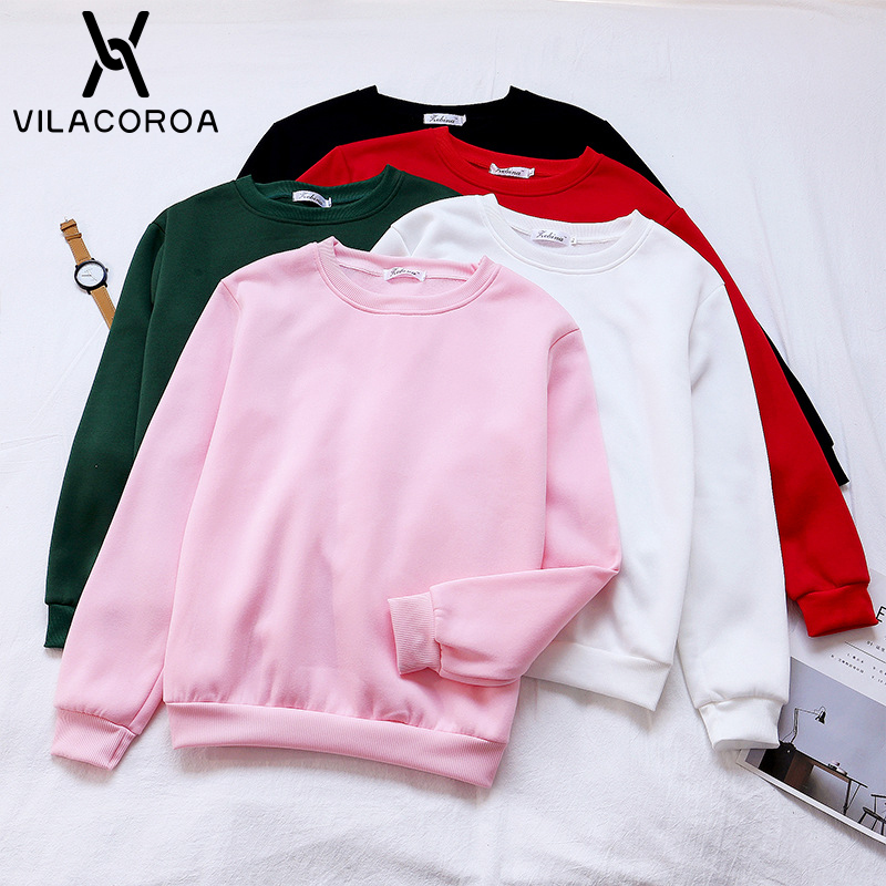 9 Color Spring Casual Hoodies Women Sweatshirt Black Round Neck Long Sleeves Girl Hoodie White Loose New Hoodies Women Moletom