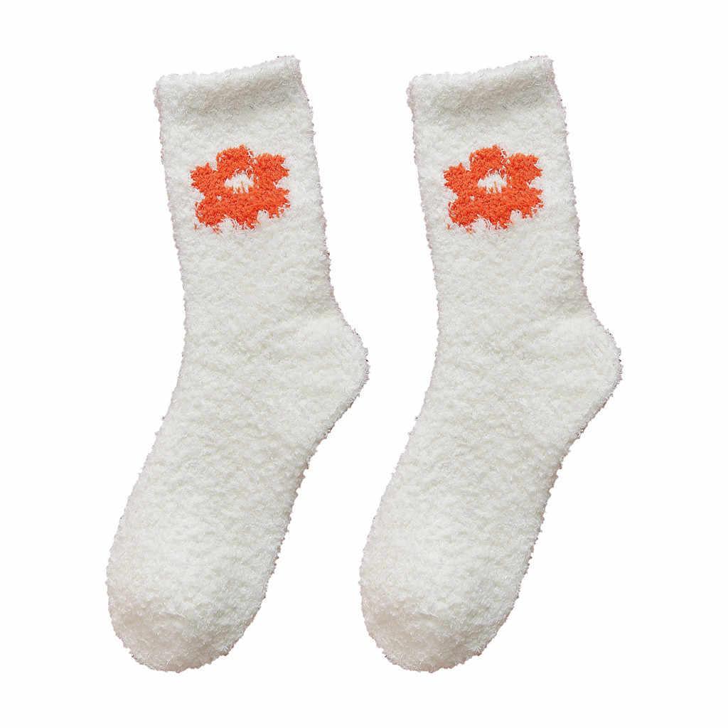 Fashion Home Vrouwen Meisje Soft Bed Vloer Sokken Warm Bloem Slapen Mid Kousen kerst sokken grappige sokken sokken vrouwen носки