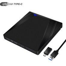 Универсальный внешний привод DVD/CD/ VCD типа C USB 3,0, горелка RW SVCD, оптический привод для Mac/PC/Apple Laptop/OS/Windows
