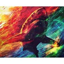 Diy картина по номерам Акула Раскраска Животные 40 х 50 см wall