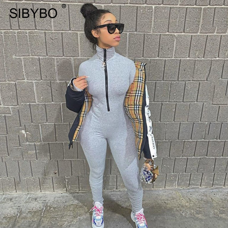 SIBYBO Ribbed Cotton Casual Rompers Womens Jumpsuit High Neck Front Zipper Sexy Jumpsuit Women Solid Sport Wear Women Rompers