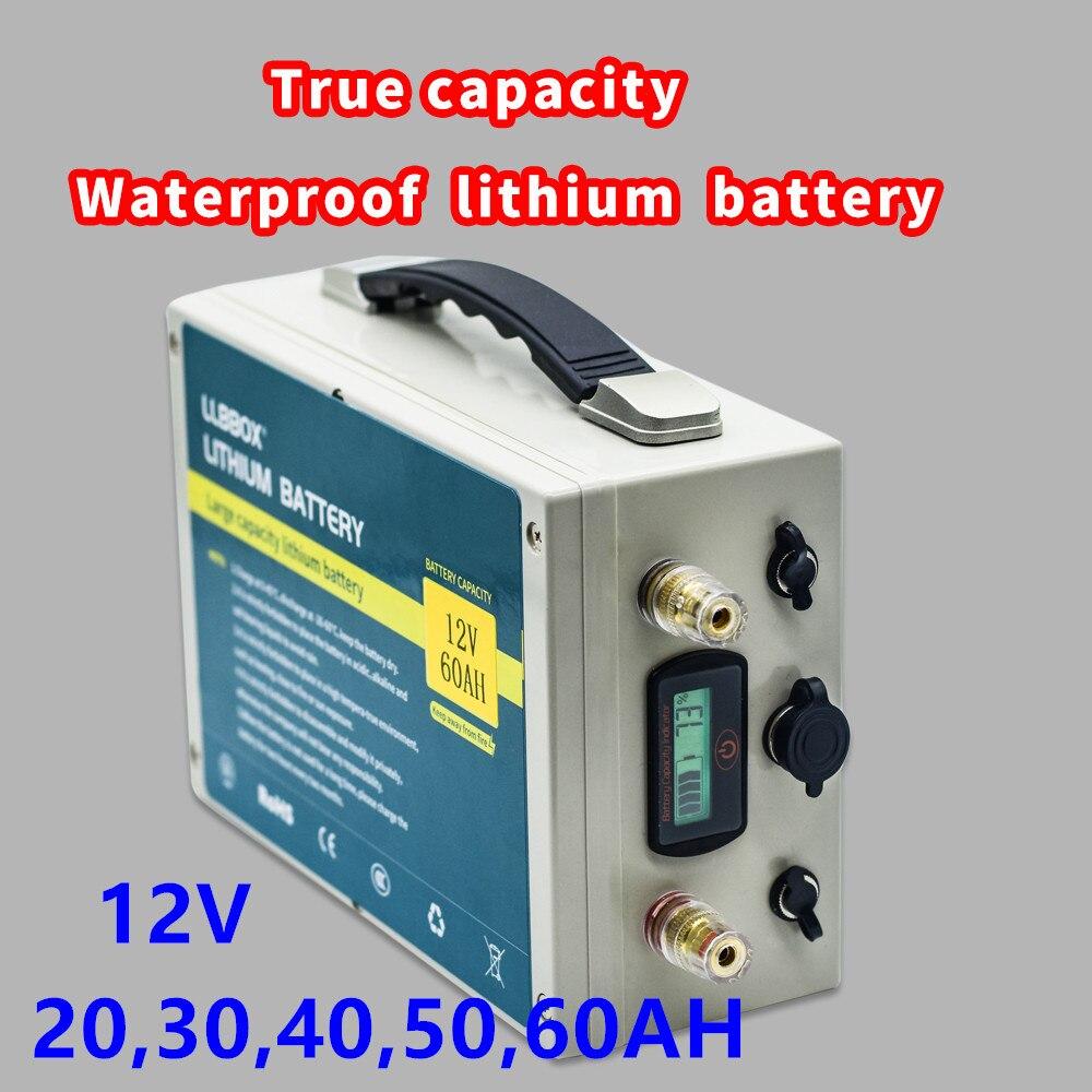 True Capacity 12V 20AH,30AH,40AH,50AH,60AH Lithium Battery Pack True Capacity Waterproof  Lithium Battery Pack Built-in BMS