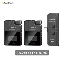 Comica boomx d 2.4g sistema digital de microfone sem fio, transmissor e receptor, microfone de lapela lavalier para câmeras/smartphones