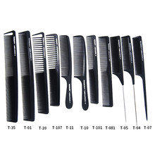 New Tail Comb Carbon Anti Static Comb Hair Cutting Comb Black Professional Combs Hairdressing(China)