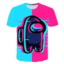 2021 Summer Boys New 3D Printed T-Shirt Among Us Anime Cartoon Game Boys And Girls T-Shirts New Black Kid Bing Among Us