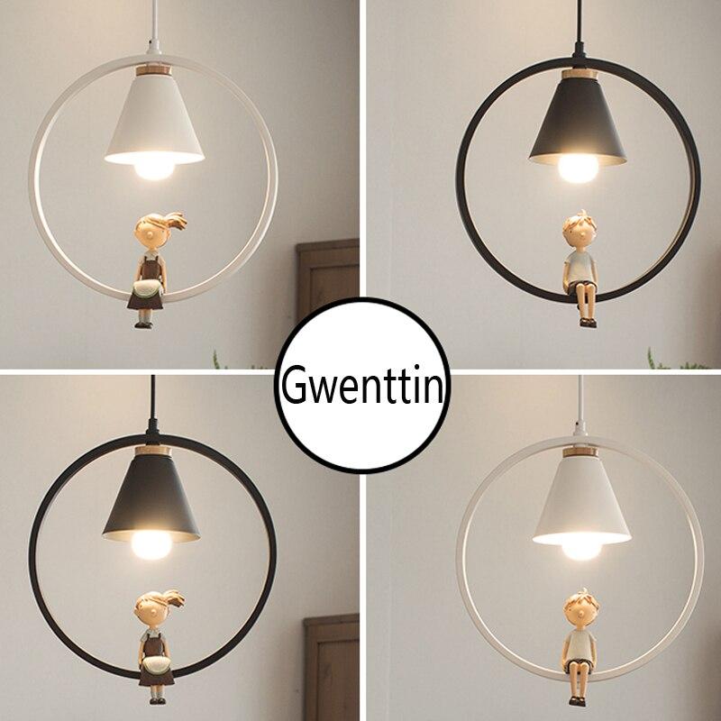 Iron Ring Boy Girl Pendant Lights For Children Bedroom Hanging Lamp Home Decor Nordic Led Light Fixtures Loft Luminaire Kid Gift