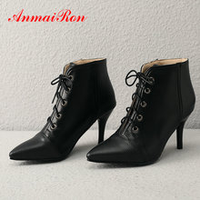 купить ANMAIRON 2019 Women Shoes PU Lace-Up Thigh High Boots Sexy Ankle Boots for Women Pointed Toe Winter Basic Boots Women Size 34-43 дешево