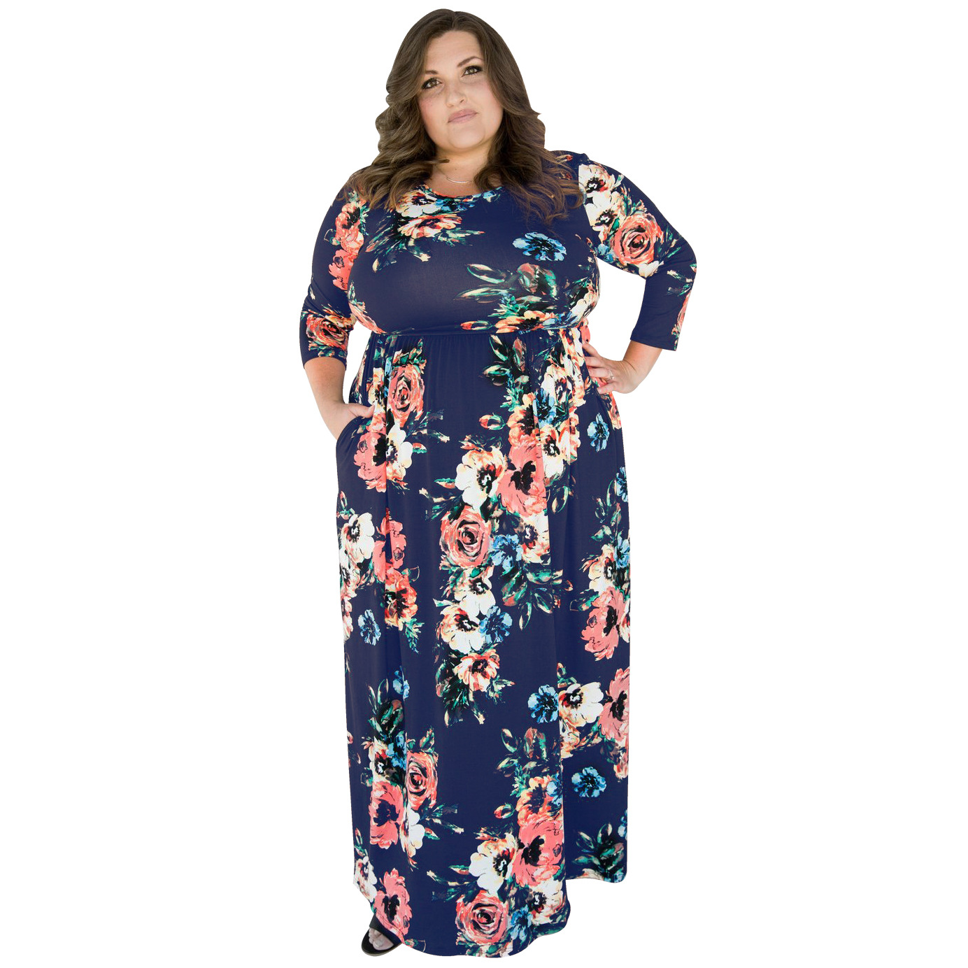 2017 Autumn And Winter Amazon Hot Selling Rose Digital Printing Large Size Long Sleeve Pocket Dress Big Momma-Currently Availabl
