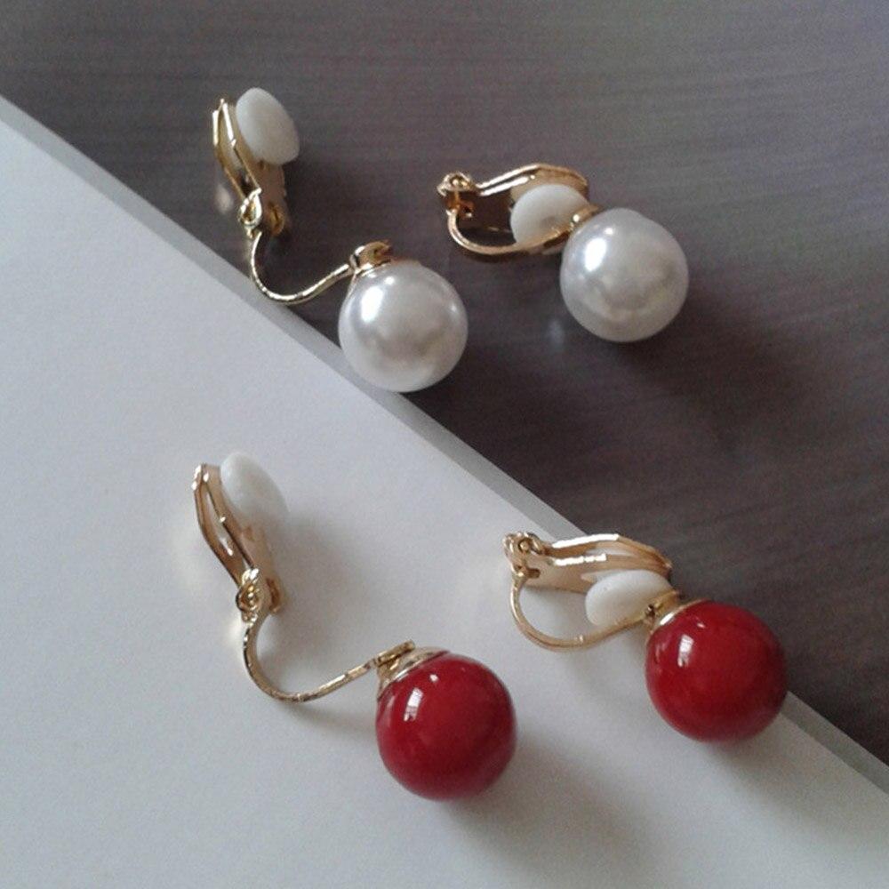 Brinco para mulheres, vermelho, branco, simulado clipe de pérola sobre brincos, joia não piercing para mulheres, nova moda, simples, brinco para orelha