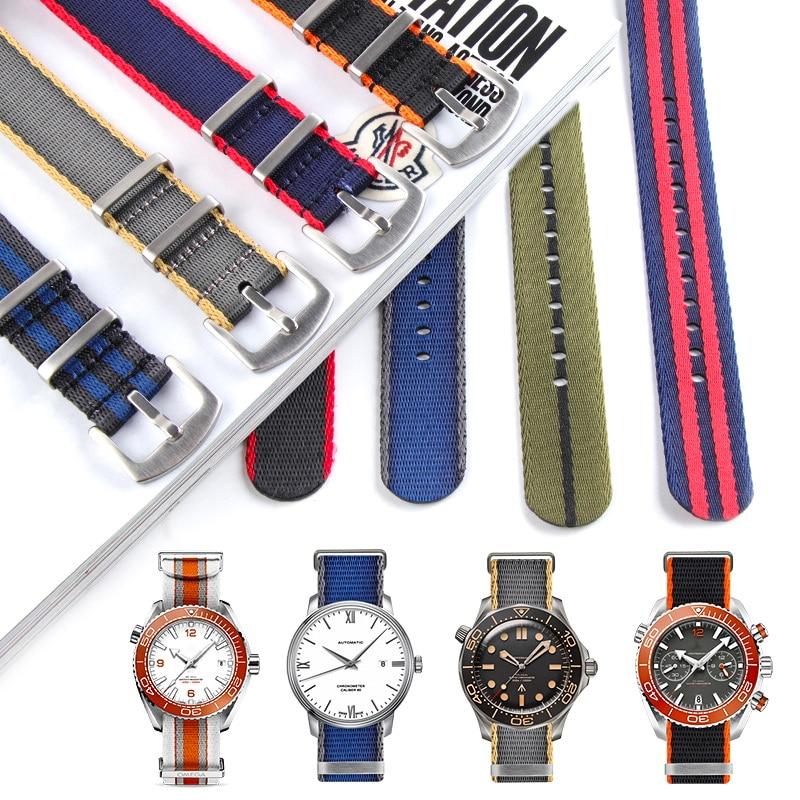 Ремешок для часов, мужской ремень безопасности Nato, 19 мм, 21 мм, браслет для Sea-master 300, Джеймс Бонд, Sub Yacht, GMT, 20 мм, 22 мм, каждый брендовый ремешок дл...